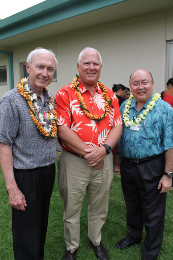 (left to right) NHCH President Ken Graham, NHCH outgoing Board Chairman Bob Momsen and Art Ushijima, President of The Queen's Healthy Systems at this week's historic event.