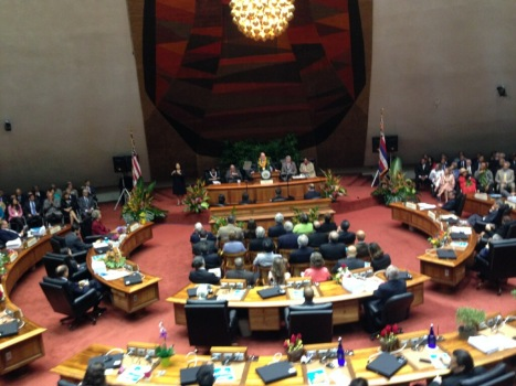 Governor Abercrombie gives the 2014 State of the State Address at the Hawaii State Capital Building. (Photo by Ian Kitajima)