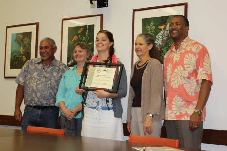 Left to right is William Aila; Christine Clarke, Acting Director for the Natural Resources Conservation Service in the Pacific Islands Area; M. Irene Sprecher, award recipient; Diane Ley, Executive Director for the Farm Service Agency; and Randy Moore, Pacific Southwest Regional Forester from the US Forest Service.  Photo by Jolene Lau, NRCS.