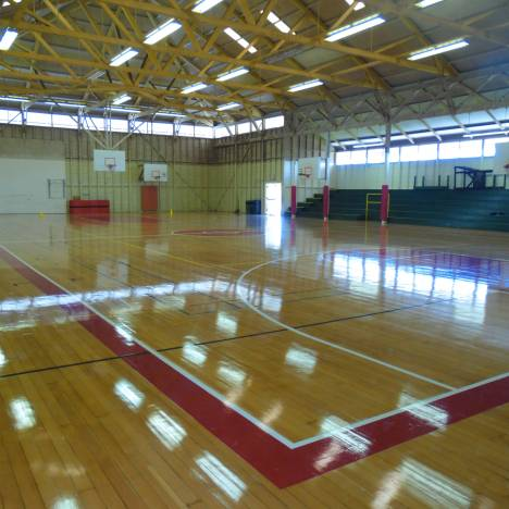 Photo of gym interior showing repaired and refurbished floor  Photo credit: Hawai'i County Department of Parks and Recreation