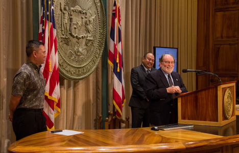 Gov. Neil Abercrombie was joined by Comptroller Dean Seki and Finance Director Kalbert Young to announce the public release of the 2013 Comprehensive Annual Financial Report (CAFR) of the State of Hawaii, which measures the state's net position as a broad indicator of its net worth and overall fiscal health.