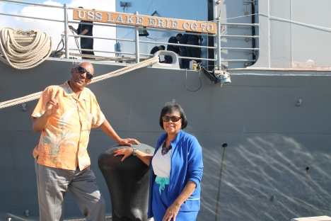My Uncle and Aunt before they got a private tour of the USS Lake Erie.