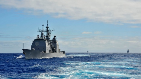 PACIFIC OCEAN (Jan. 27, 2014) Guided-missile cruiser USS Lake Erie (CG 70) operates with other cruisers off the coast of Hawaii during Koa Kai 14-1. Koa Kai is a semiannual exercise in the waters around Hawaii designed to prepare independent deployers in multiple warfare areas and provide training in multi-ship environment. (U.S. Navy photo by Mass Communication Specialist 3rd Class Johans Chavarro/ Released)